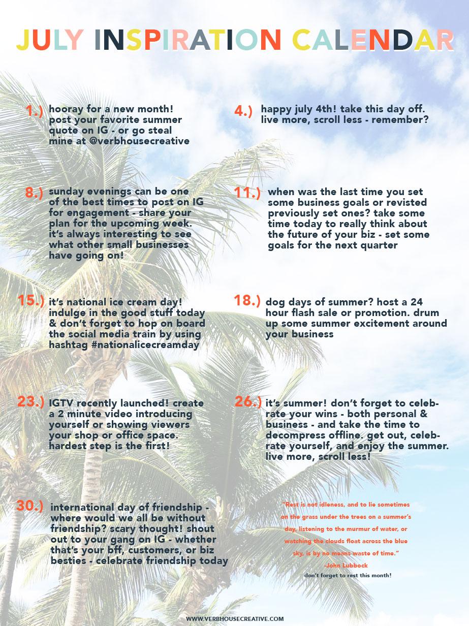 July Inspiration Calendar