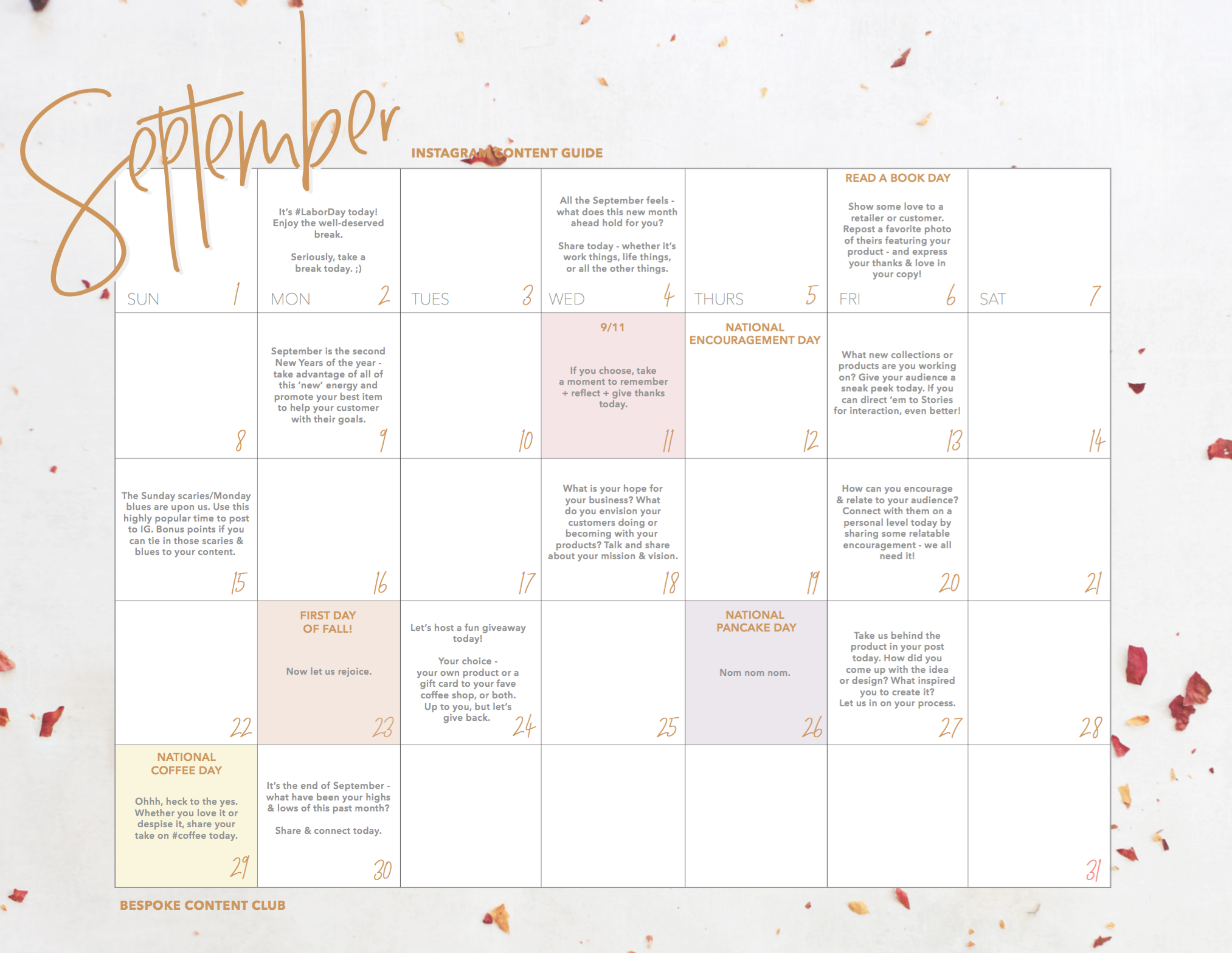 September Instagram Content Calendar for Bespoke Content Club