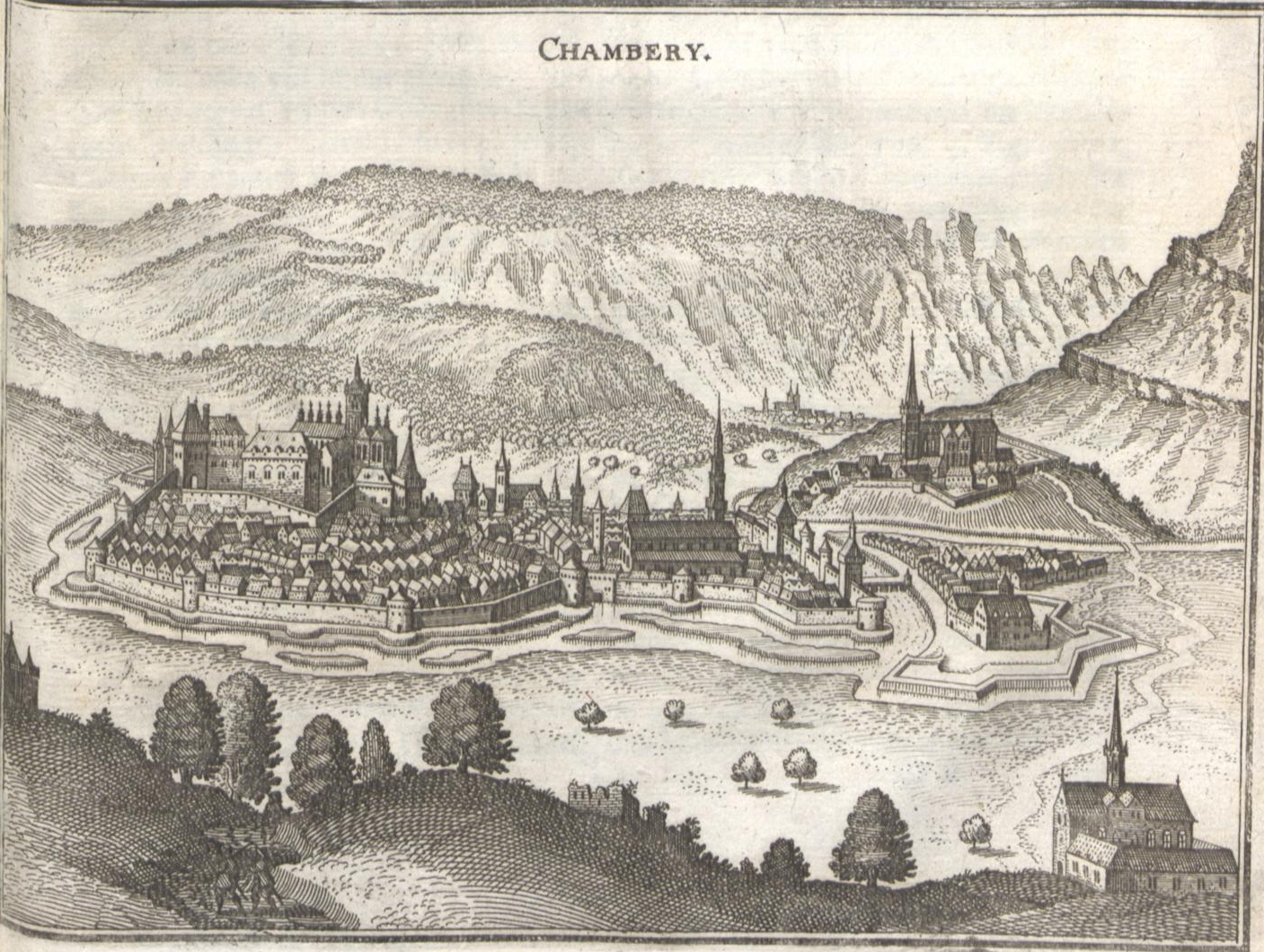 Castle Chambery in 1645, from Wikipedia article for Chambery.