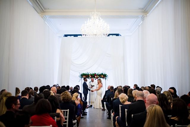 This lovely couple chose to surround the center of our ballroom space in gleaming white sheer curtains to transform the space into something heavenly. Photograph courtesy of Trevor Holden Photography  #providence #rhodeisland #ballroom #weddings #specialevents #providencewedding #rhodeislandwedding