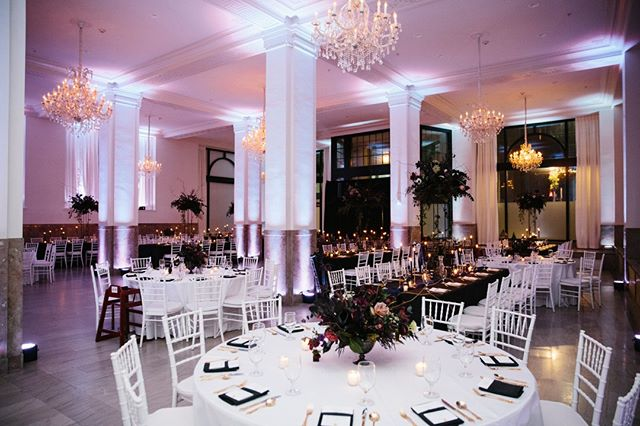 The contrast between the elements of this setup are striking, and the lighted columns really take the space to the next level! Photograph courtesy of https://www.movemountains.co/. #providence #rhodeisland #ballroom #weddings #specialevents #providencewedding #rhodeislandwedding