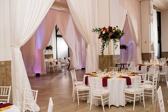Drawn curtains between The Ballroom's columns lend a regal yet comfortable feeling... almost like one is in the throne room of a king and queen! Photograph courtesy of Trevor Holden Photography.  #providence #rhodeisland #ballroom #weddings #specialevents #providencewedding #rhodeislandwedding