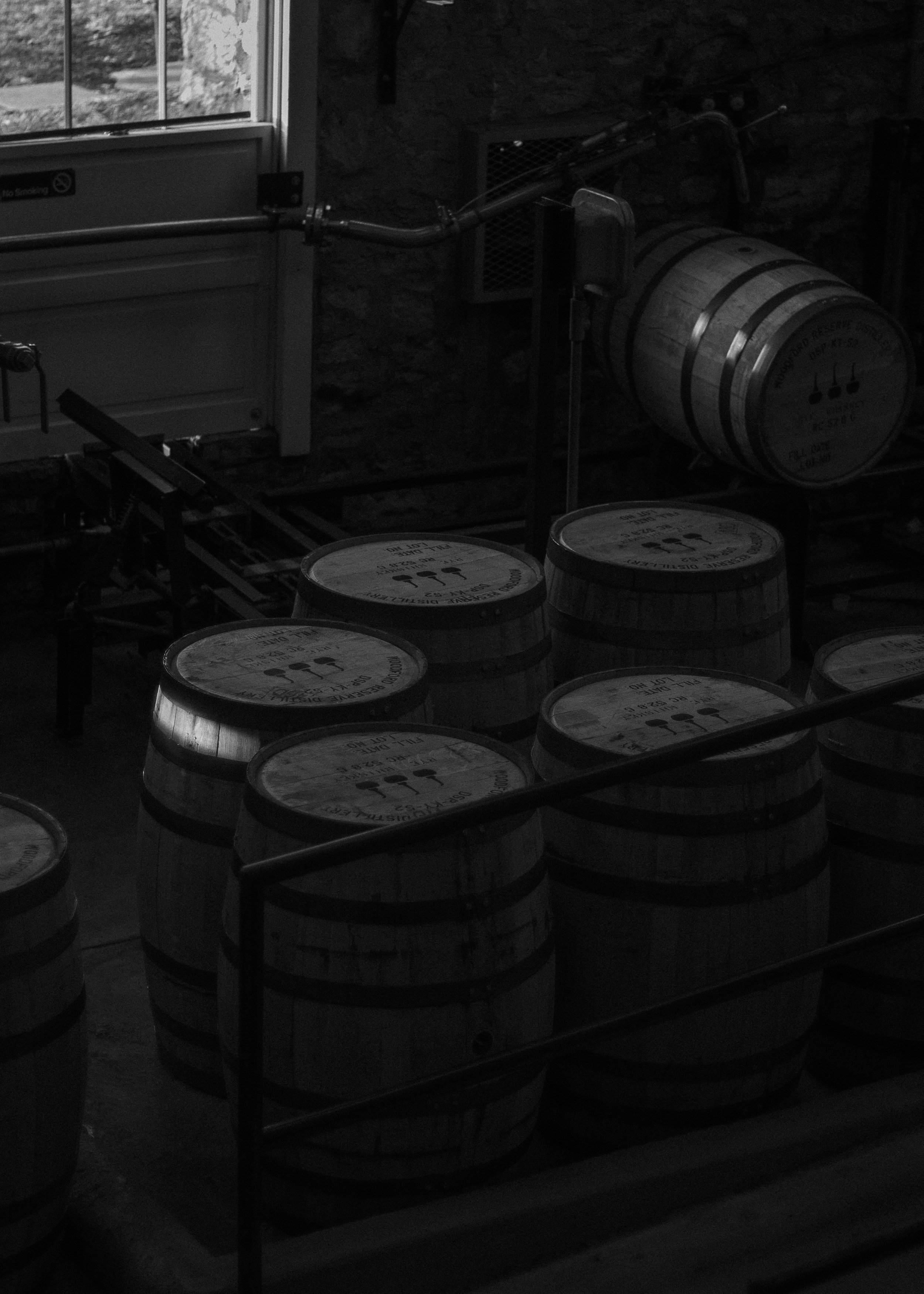 Barrels ready for the triple distilled, clear whiskey.