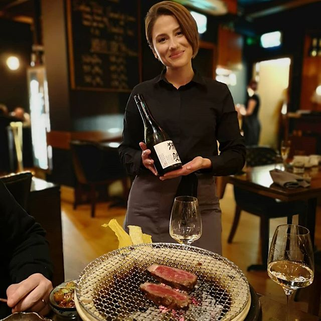 Elena @tastebydylan with a bottle of @dassaisake 50 which @marcgianna I enjoyed with the most wonderful Scottish Aberdeen #wagu beef on the robata grill. The #nigiri is absolutely first rate, as is the tempura and miso soup also.👌🏻 This exceptional restaurant - which is easily one of the best in Ireland in our humble opinion -  remains under the radar, something that continues to puzzle us. Great work @chefdylanmcgrath and team. 👏🏻