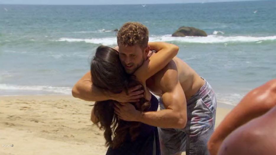 Get on in there, Nick, this is  Bachelor in Paradise! The whole goal is to get those body parts closer together!