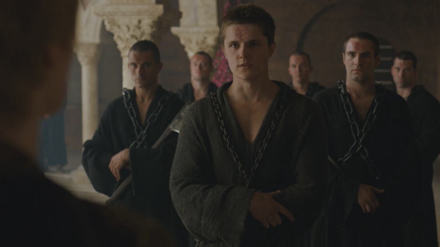 Lancel Lannister and other members of the Faith Militant unsuccessfully confronting Cersei and the Zombie Mountain in  No One  (S6E8)