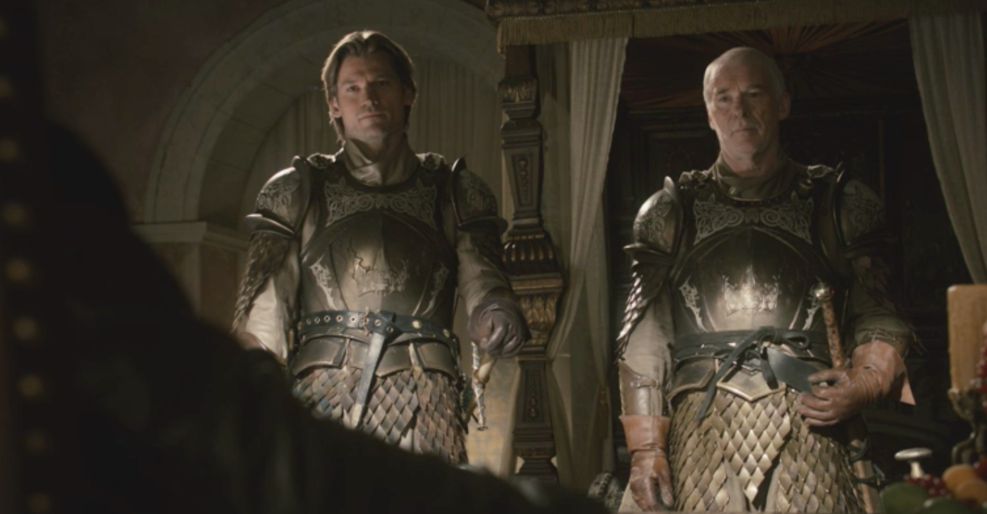 Jaime Lannister and Barristan Selmy as members of King Robert Baratheon's Kingsguard in  Lord Snow  (S1E3)
