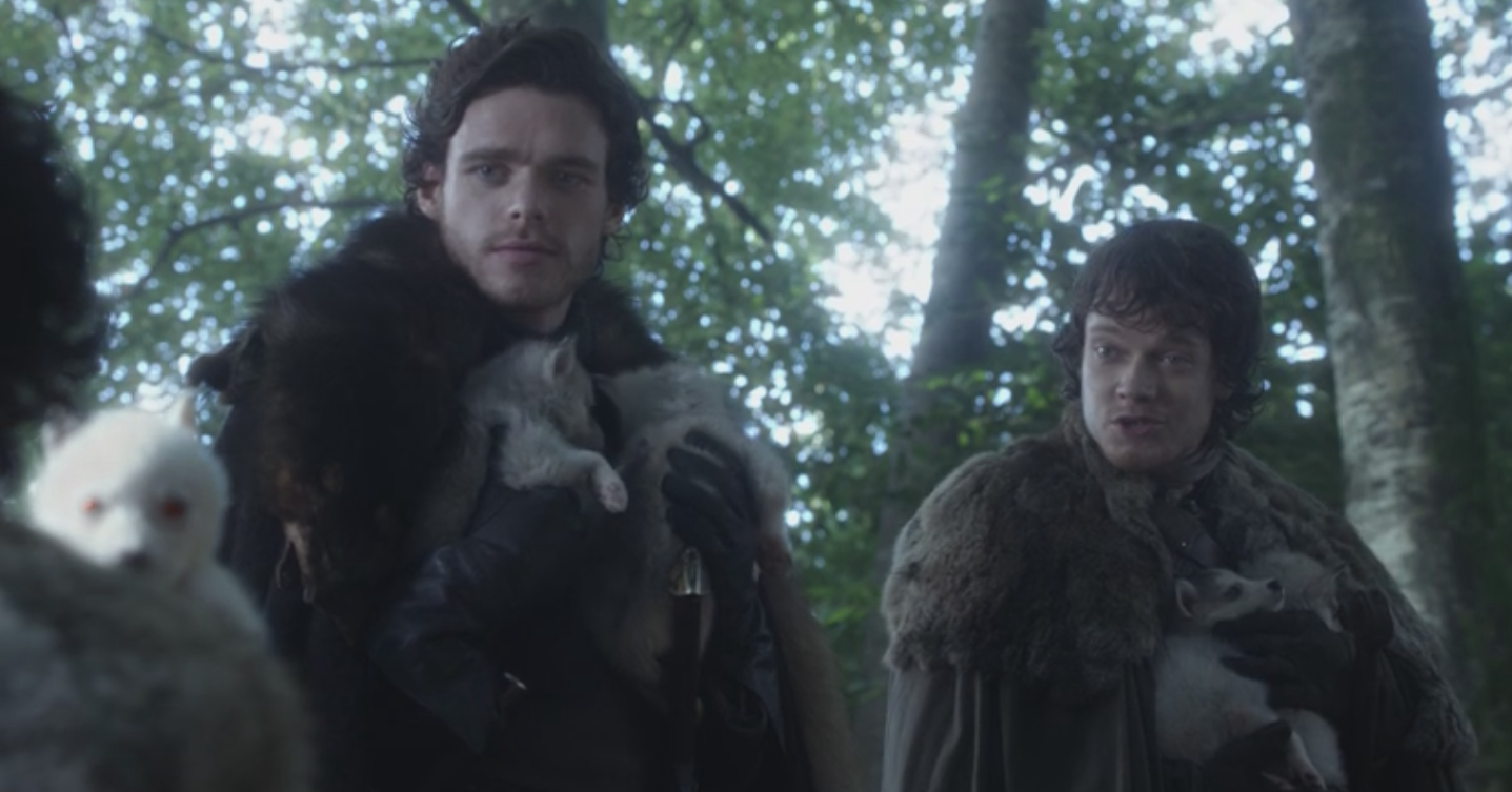 Theon Greyjoy with Robb Stark, Jon Snow and the direwolf pups found in  Winter is Coming  (S1E1)