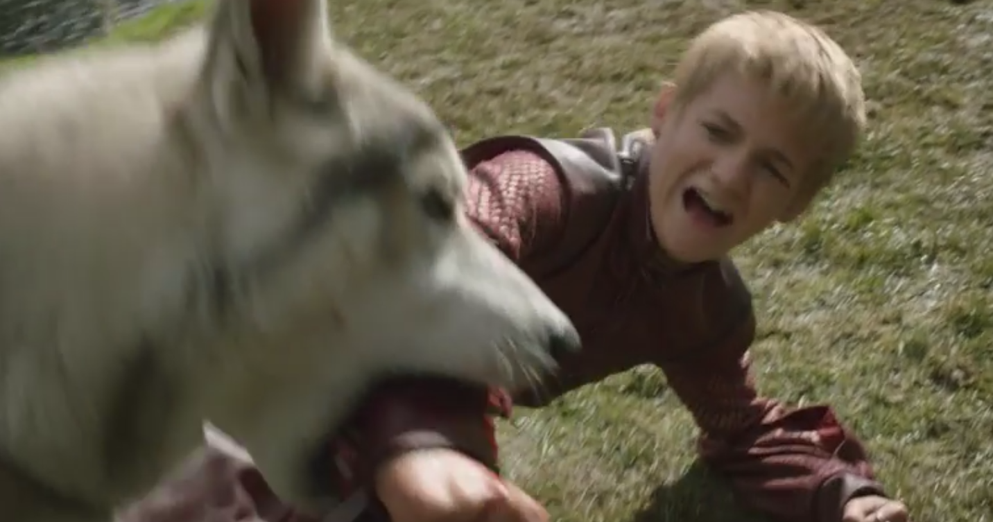 Arya's direwolf, Nymeria, attacking Prince Joffrey Baratheon near the Ruby Ford in  The Kingsroad  (S1E2) - you can't see the ford itself, but who doesn't want to see Joffrey attacked by wolves?