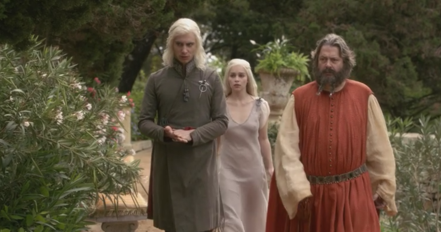 Viserys and Daenerys Targaryen with their protector in Pentos, Magister Illyrio in  Winter is Coming  (S1E1)