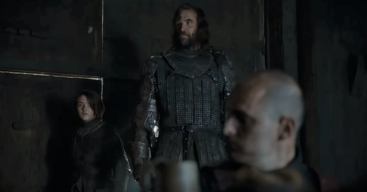 The Hound is smaller than his brother, and you can see there's a pretty big size discrepancy