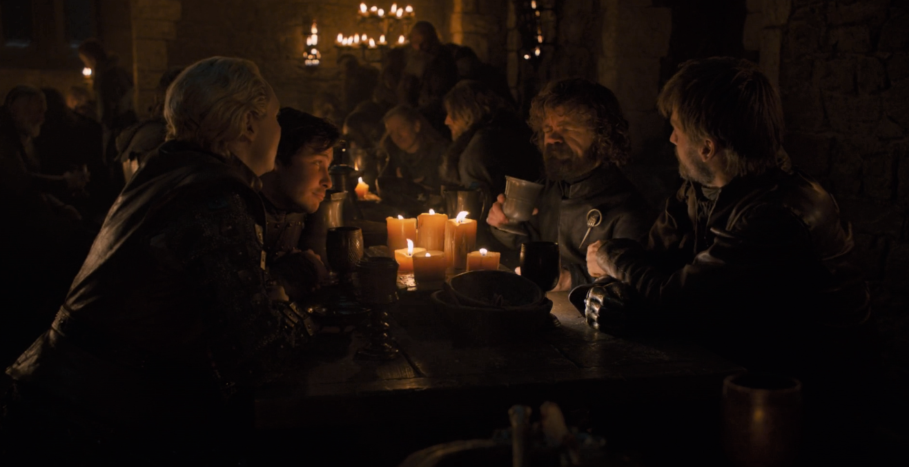 Tyrion should know his audience better: talk to Jaime and Brienne about killing people, and talk to Pod about brothels