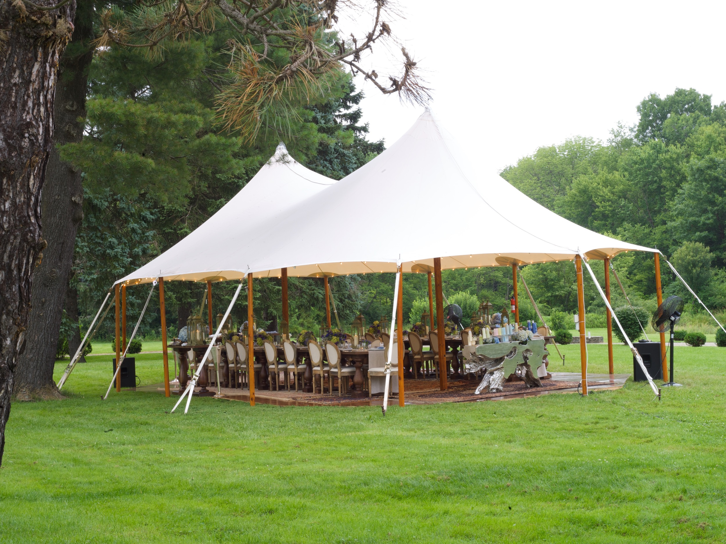 Long shot of installed tent.