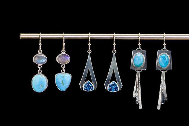 Got the blues over here... #turquoiseearrings #topazearrings #uniqueearrings #customearrings #silverearrings #uniquejewelry #handmadejewelry #coloradojewelry