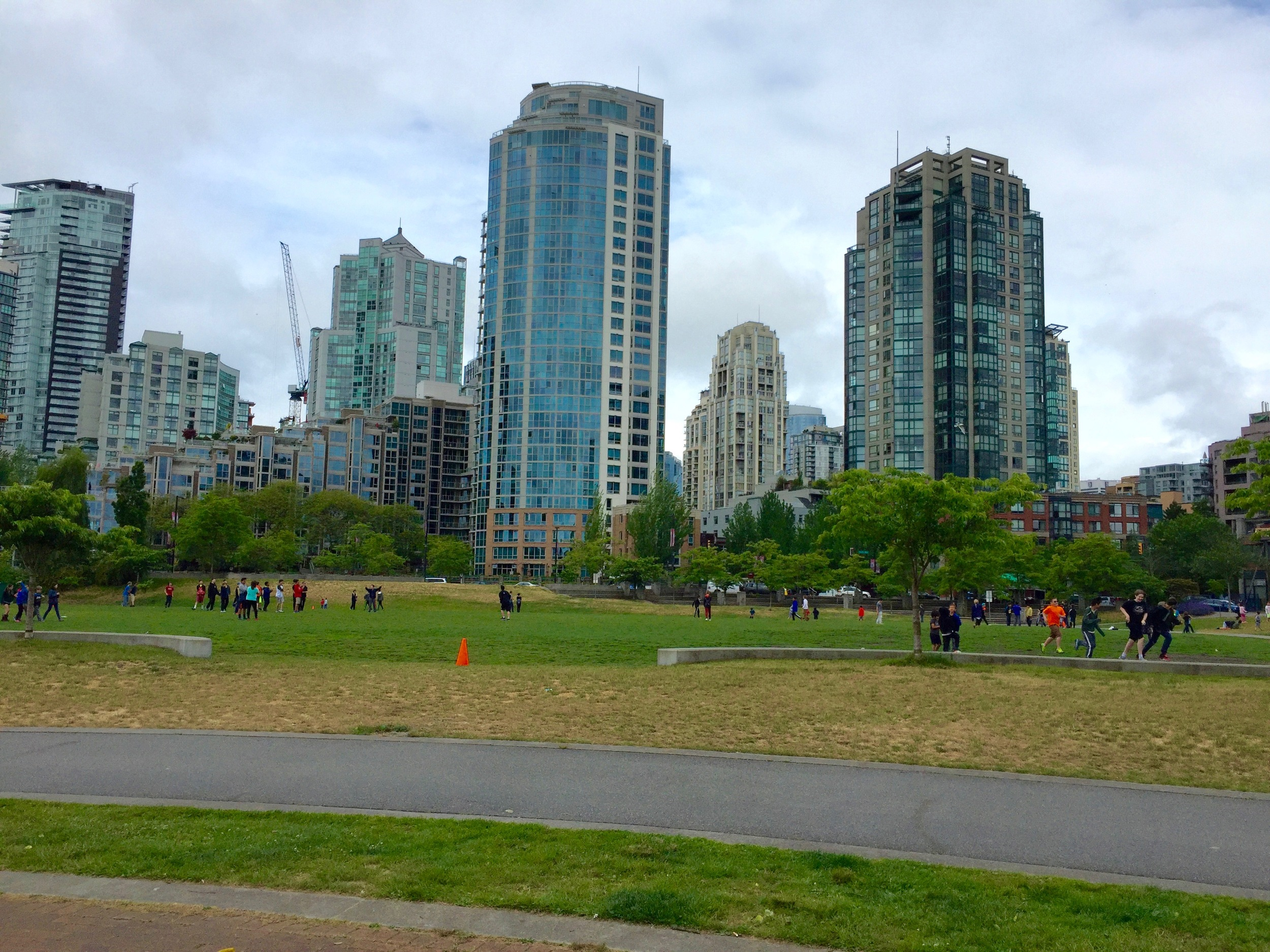 Residential towers and school playgrounds in False Creek area of Vancouver.