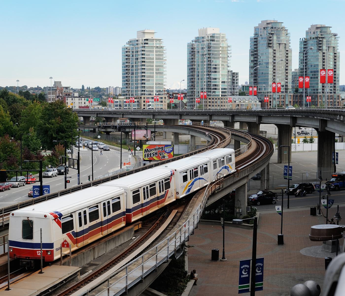 SkyTrain entering downtown Vancouver.
