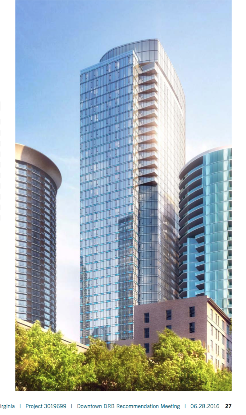 Escala on right dwarfed and as close as 22 feet from proposed 500' Douglaston tower in Seattle.