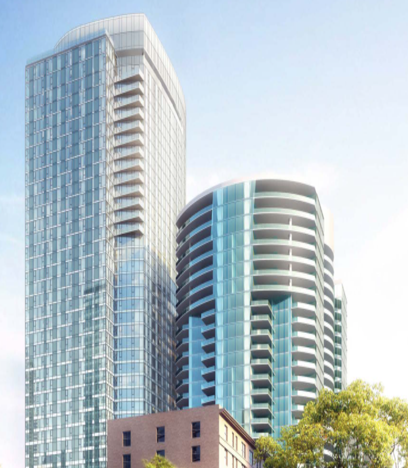 The intent here seems to be to maximize developer profit at the expense of residents'livability by siting the new tower so close as to reduce natural light to almost negligible levels.