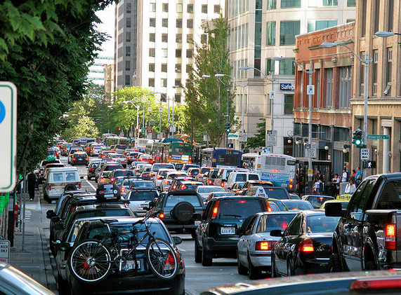 Downtown traffic gridlock.