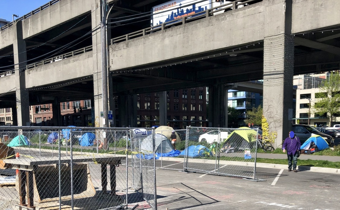 Tent city under viaduct.