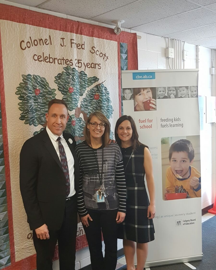 Andrew pictured with Tennille Cooper, CBE and Allison Paul, Principal.