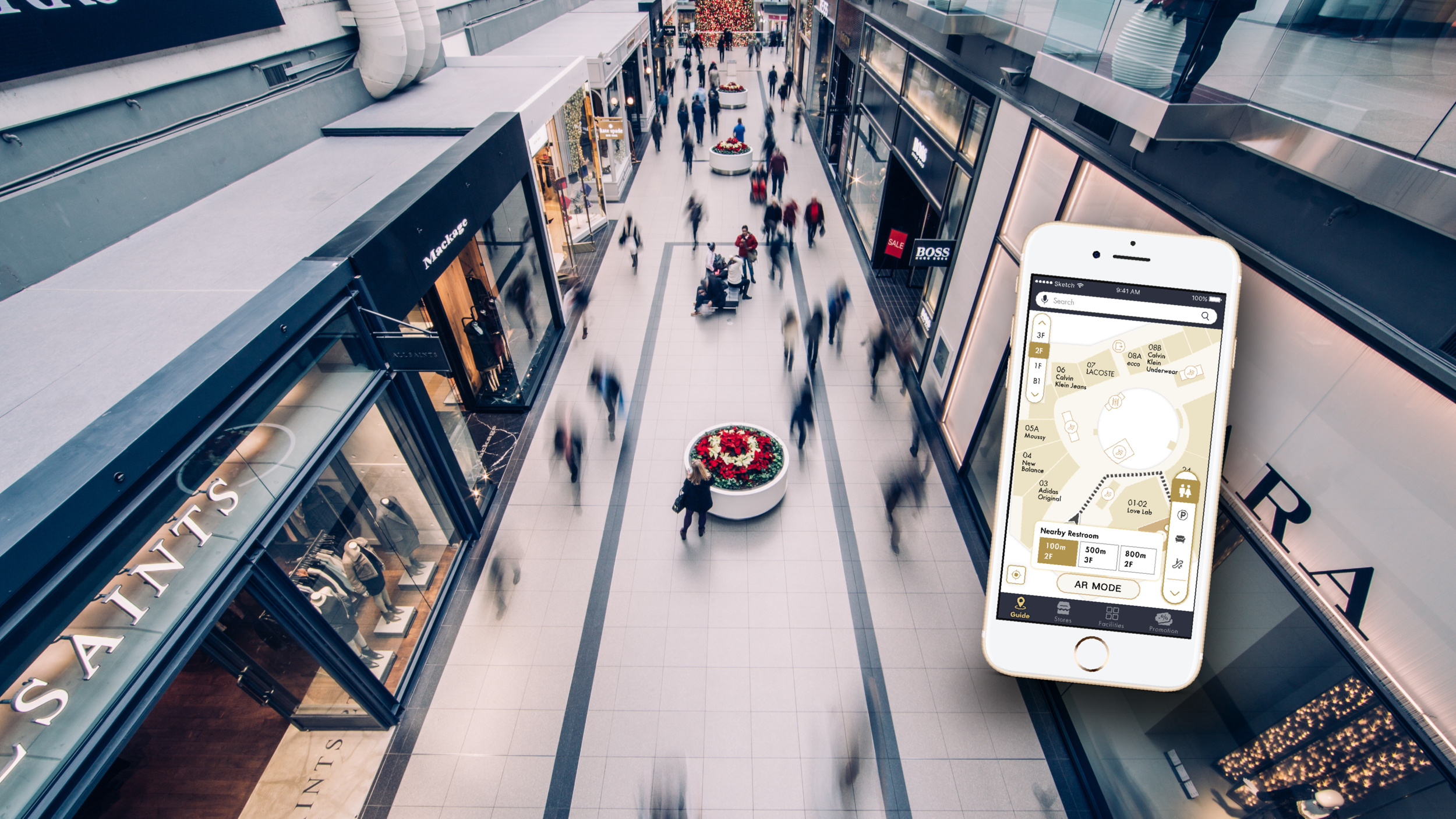 Super Grand Mall - A mobile application that will provide real-time assistance services to visitors of large-scale shopping centers, including directions and promotional information, tailored to their in-the-moment needs.