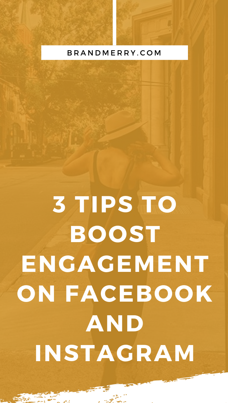 Tired of hearing crickets when you post on social media? While, I don't suggest basing everything off of likes and hearts, it's important to know social media engagement is the name of the game for building a brand online. Learn 3 Tips to Boost Engagement on Facebook and Instagram in this blog post. #socialmedia #facebook #instagram #branding