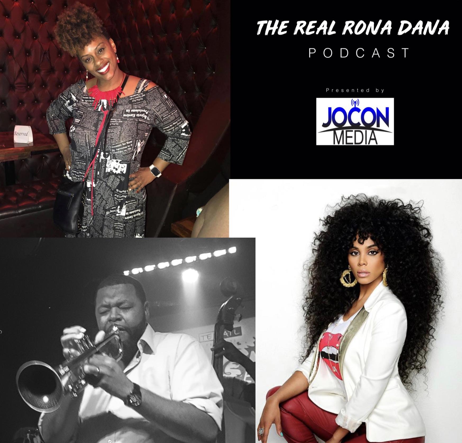 Host Rona Dana (top left), Professional Trumpeter Melvin Jones, Recording Artist & Actor Claudette Ortiz