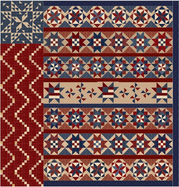 Star Spangled Liberty   with pieced center row.