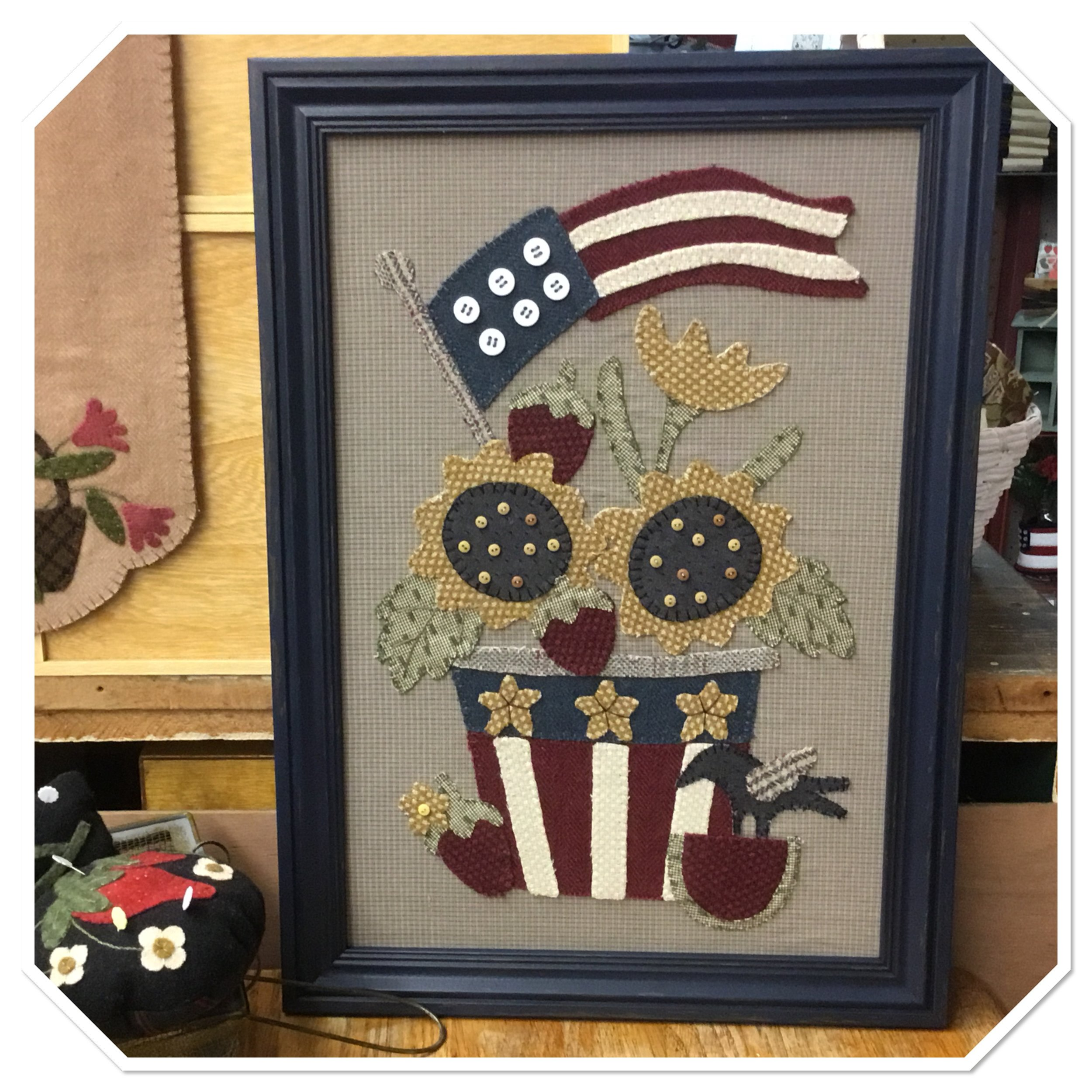 "We just added this beautiful wool project to our wool applique collection @theTHREADS.  This wool & homespun project was designed by Stacy West of Buttermilk Basin and is call, ""Spirit of America.""  We have kits that include 100% wools and homespuns.  You can order your own kit  by  clicking the link  http://commonthreadsquiltshop.net/shop/spirit-of-america"