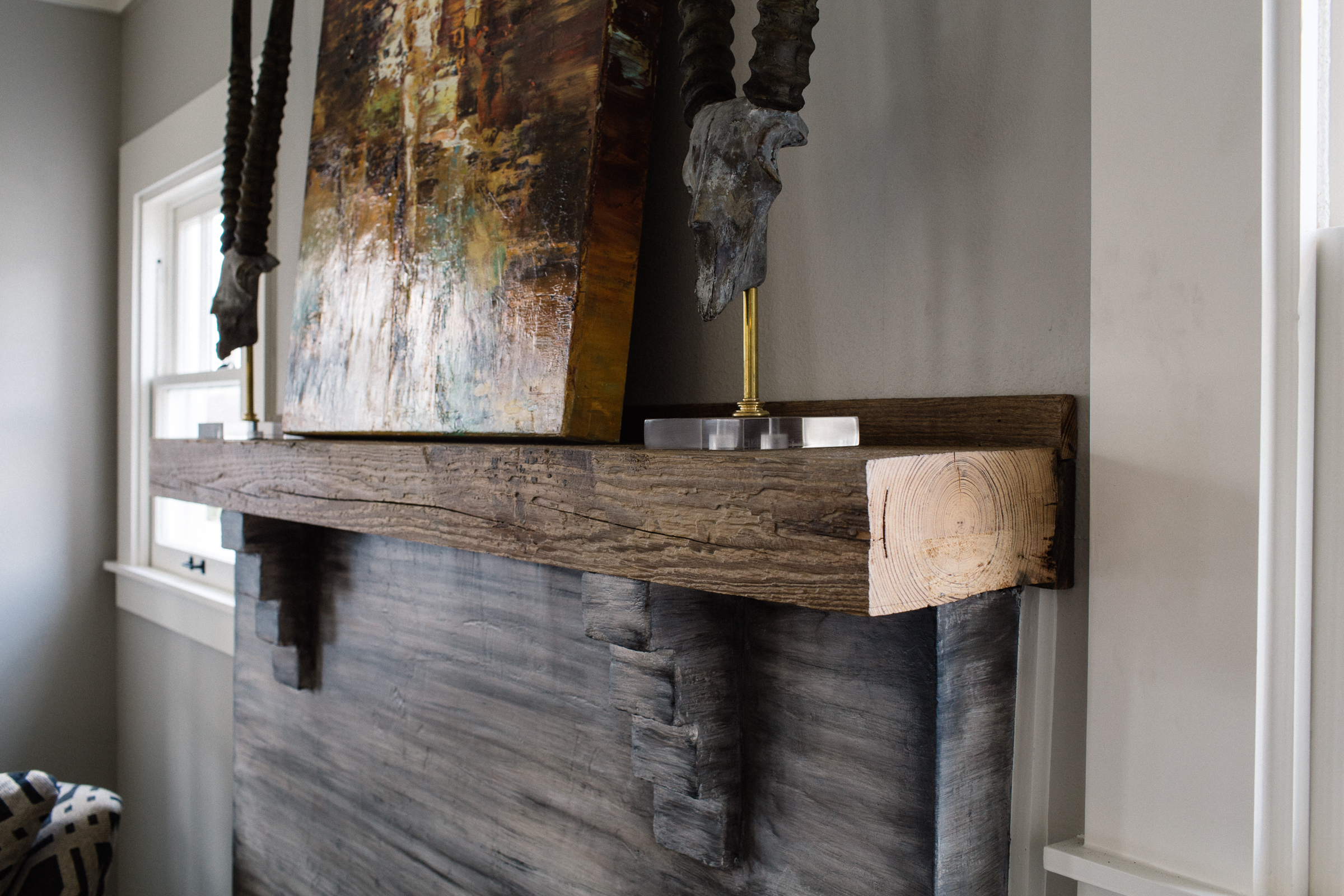Fireplace Mantel from Barn Beam
