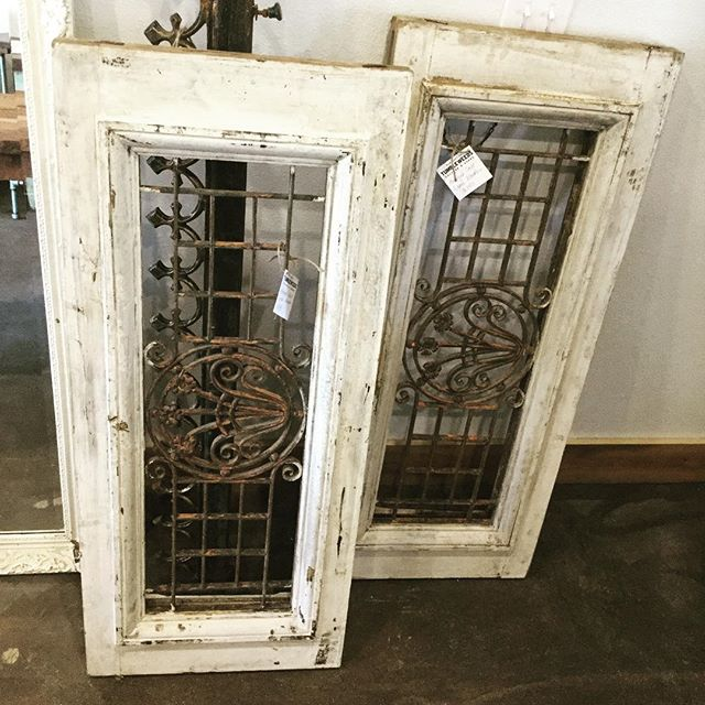 These two cast iron windows are some of the coolest things we have in store!! $245 each. (There is no glass in these, but you could easily change that 😉)