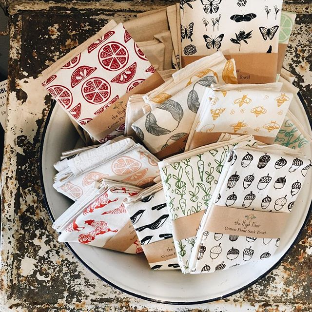 "We've brought the ""salvage"" now we're bringing the ""goods"". Natural fiber, handblocked printed dish towels and made in the USA. Only $12 a piece. What a sweet way to decorate for fall or surprise a friend with a just-because-gift. Open Saturday from 10am-5pm. #mckinneyantiques #mckinneytexas #historicmckinney #madeintheusa #blockprints #natural #naturalfibers"