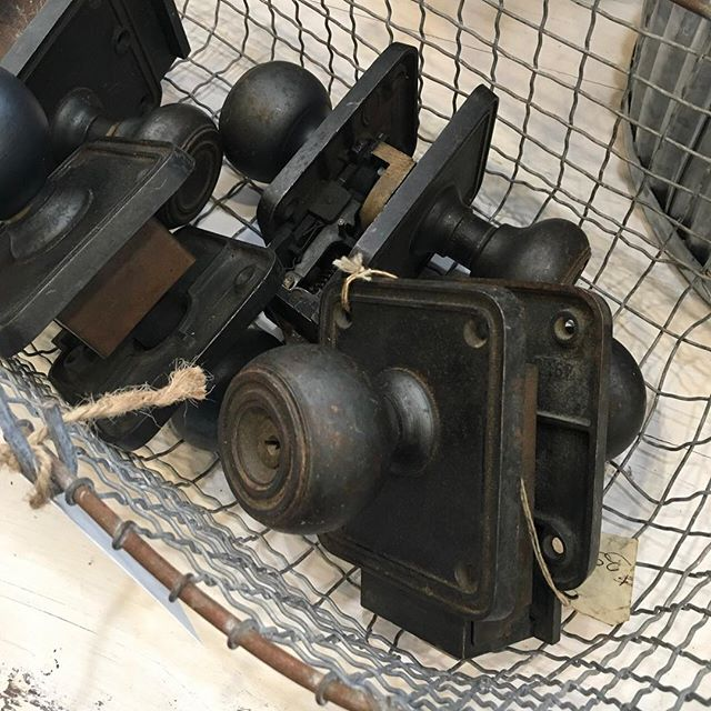 Matte black doorknobs paired with a crisp white door is always a yes! Open today from 10-5pm. #mckinneyantiques #mckinneysalvage #historicmckinney #mckinneytexas