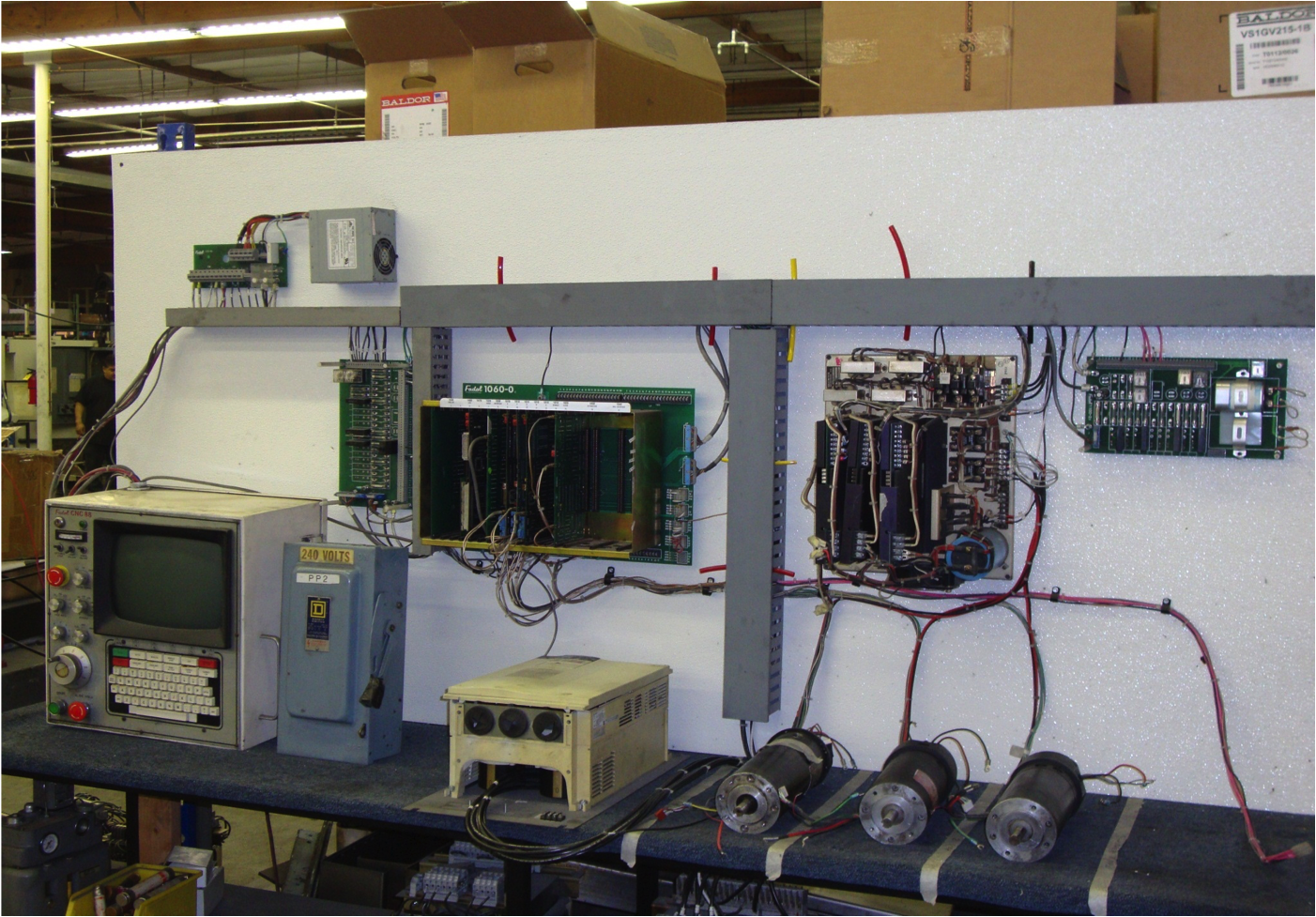 A 20 Hour burn in or test period is completed on AMPS, Motors, Axis Cards, and Inverters before being installed on a machine