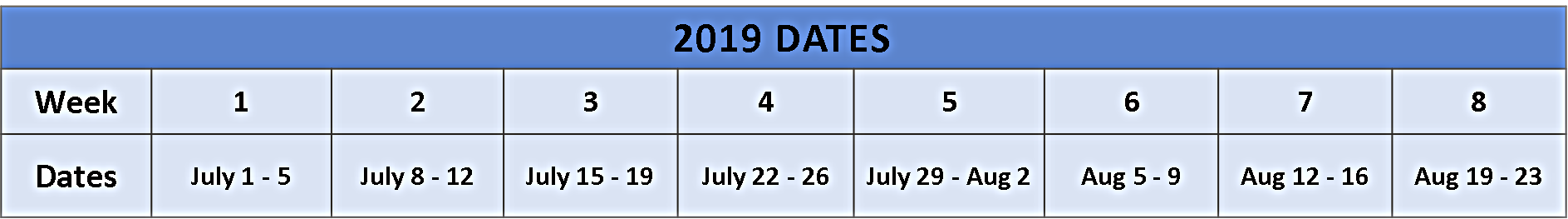 2019 Katonim Dates
