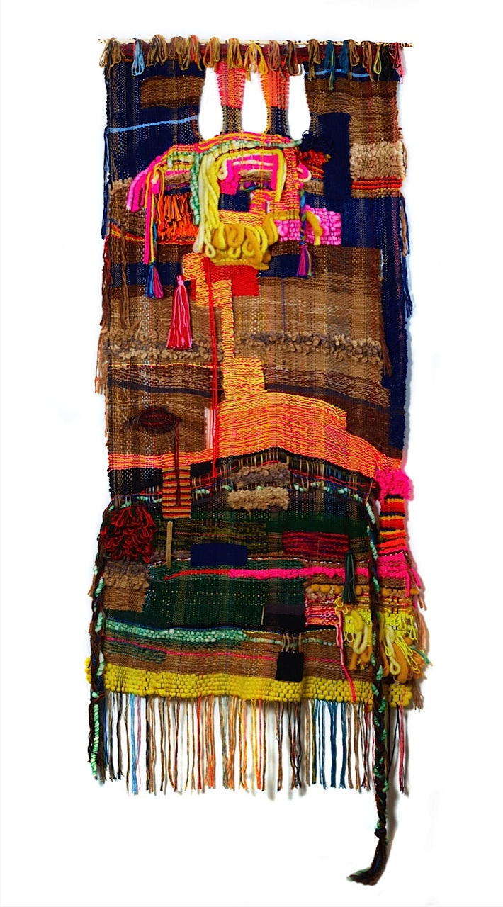 """2015, 86"""" x 37"""", acrylic, wool, cotton (in the collection of the Berkeley Art Museum and Pacific Film Archive)"""