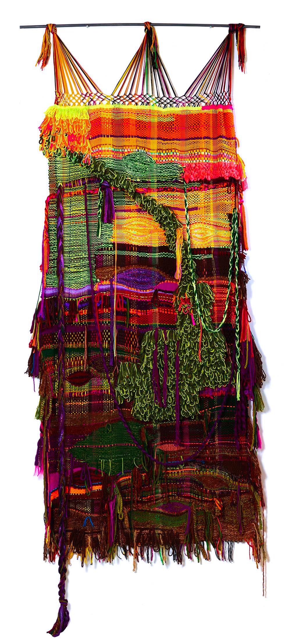 "2014. 96"" x 39"",  acrylic, wool, cotton"