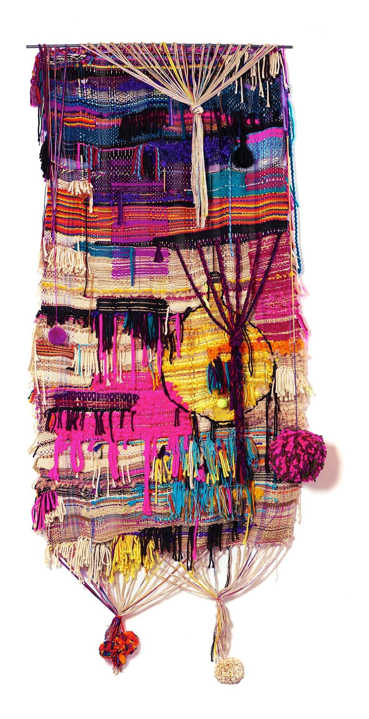 "2014, 98"" x 43"", acrylic, wool, hemp, jute, cotton"