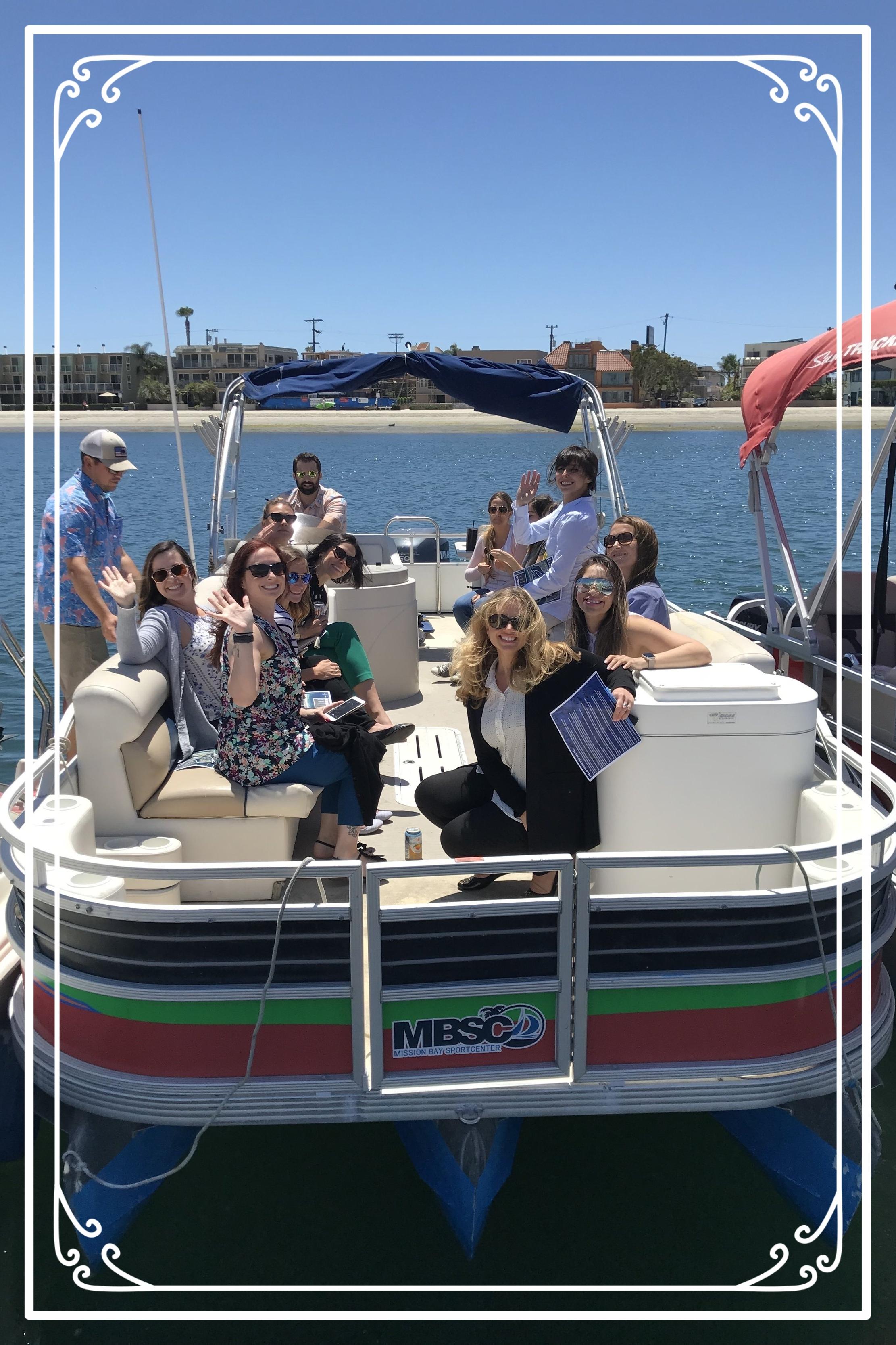 Pontoon boat scavenger hunt in San Diego