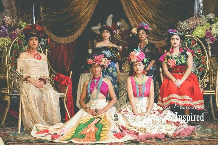 All of the Fridas  at the Frida photoshoot at the Boutique Photo Loft (Vogue featured); 2016;  role: set design assistant, production assistant;  produced and designed by Shari Cornes; wardrobe by Shari Cornes, Audra Elizabeth, and Lubia Reyes; Styled by Lubia Reyes, Dafne Lozano, and Shari Cornes; set design by Shari Cornes and Cokys Reyes-Arellano; curation and painting by Cokys Reyes-Arellano and team