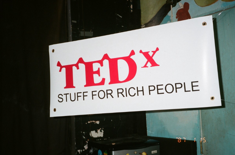 Banner for a parafictional TedTalk series for Jimmy Market: Stuff for Rich People at the Observatory; 2016;  role: designer and fabricator ; photograph by Nick Matsas