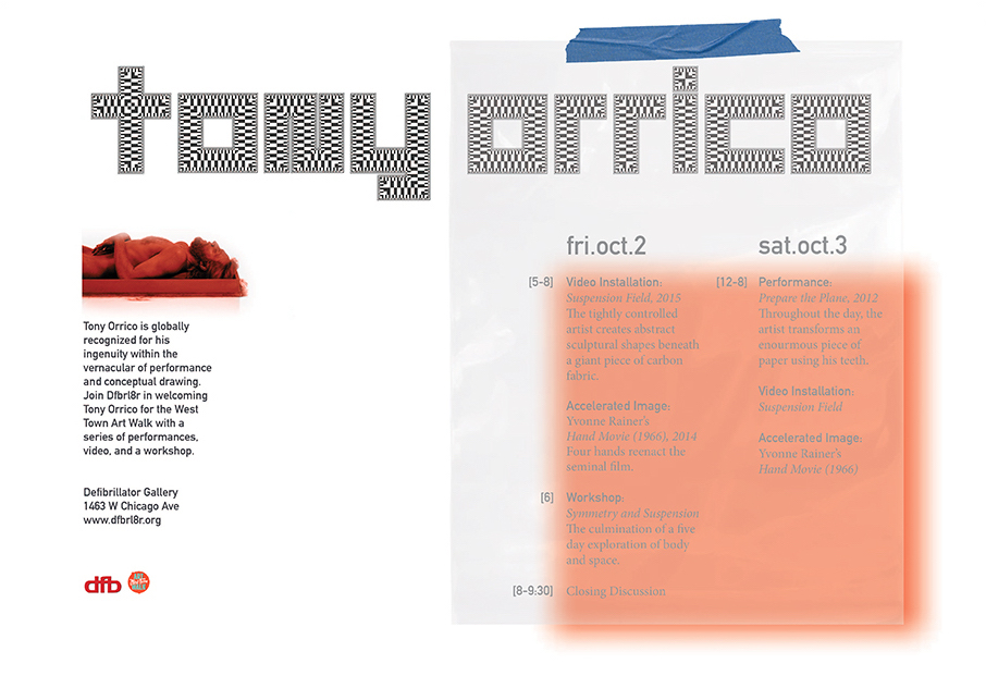 Tabloid for a Tony Orrico performance series during the West Town Art Walk for Defibrillator Gallery; 2015;  role: designer and fabricator ; Schedule printed on A4 acetate so that it could be changed between weekends, and the materials were coordinated with the style of the performer.