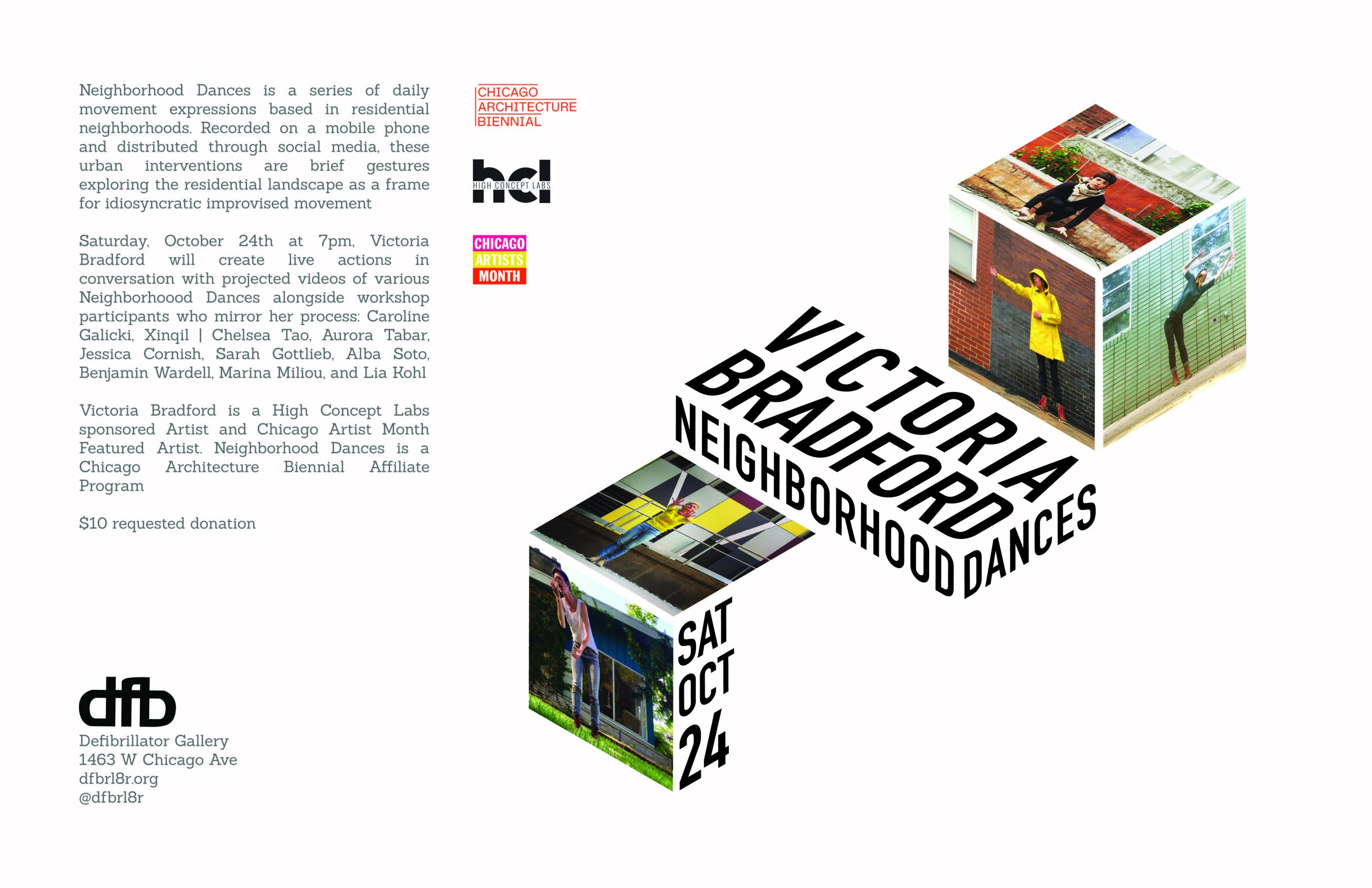 Tabloid for Victoria Bradford's  Neighborhood Dances  (featured at the MCA) for Defibrillator Gallery; 2015;  role: designer;  This poster employed isometrics to replicate the conditions of the artist's performances, which blended the body with surrounding architecture and space.