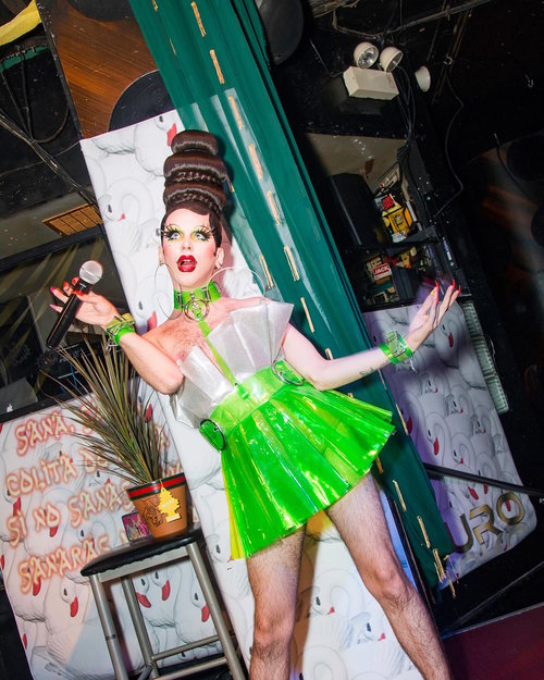 DURO23 at Berlin Nightclub; Chicago, IL; 2017  role: installation, graphics, cactus fabric piece ; pictured: Imp Queen (@imp_kid), photographed by Eric Michael Kommer.