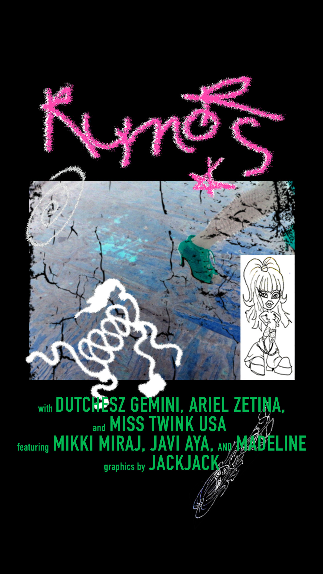 Instagram Story poster for the party Rumors at Eastroom; 2019;  role:   designer ; hosted by Dutchesz Gemini, Ariel Zetina, and Miss Twink USA