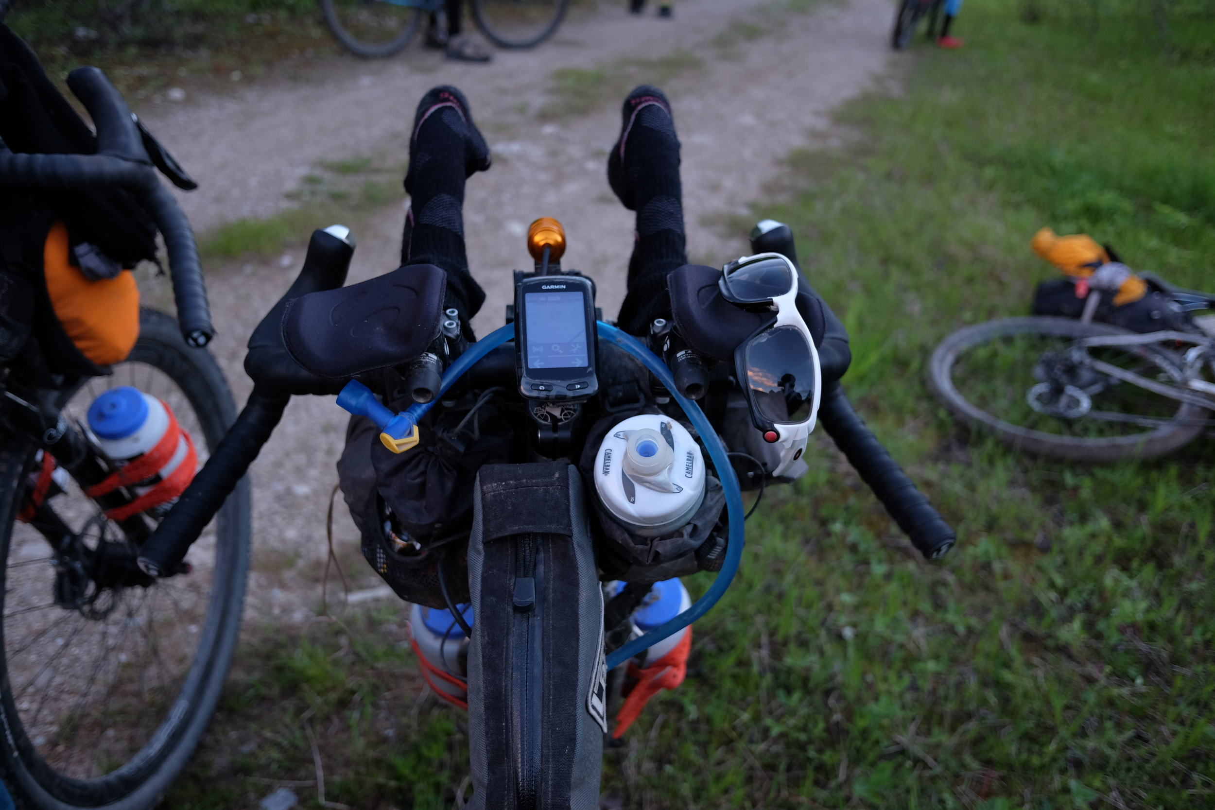 Aero bars quickly took on a second use as a dryer for our socks and gloves. We were wet for almost the first 7 days of the Tour Divide this year.