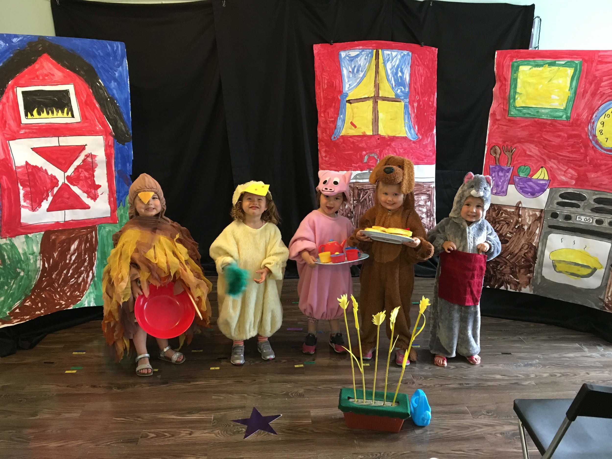 """""""The Little Red Hen"""" - Students make props and sets, get scripts, roles and lines, learn about acting, singing and dancing and get full costuming! Experiences like this build confidence, independence, creativity skills, patience, listening skills, drama skills, musicality and so much more!"""