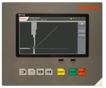 """DURMA DT10 Touch - Easy to use CNC controller • Touchscreen • 10.1"""" display • Backup to USB or restore from USB • 2D graphical showing operator when to flip or turn the product. • Easy to follow bending or turn the product. • Easy to follow bending steps • Punch and die memory"""