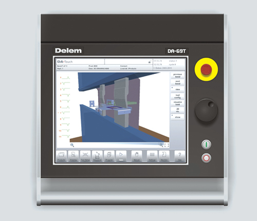 Delem DA 69T  The DA-69T is 1:1 compatible with the DA-66W and offers next to 2D products also 3D products. 3D products can be programmed with accurate sheet thickness and desired radii. Automatical bend sequence calculation can help finding the optimum bend sequence even from very complex products. Multiple products can programmed in 3D, 2D as well as numerical. Storage is managed on the CF-harddrive. The controllers Windows operating system enabled easy integration in factory networks and due to the real-time capable OS, also instant switch of is possible. The controller will start-up time after time, without annoying booting messages. The DA-66W and DA-69W can also be equipped with an optional touch screen.